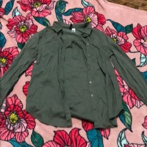 olive green button shirt